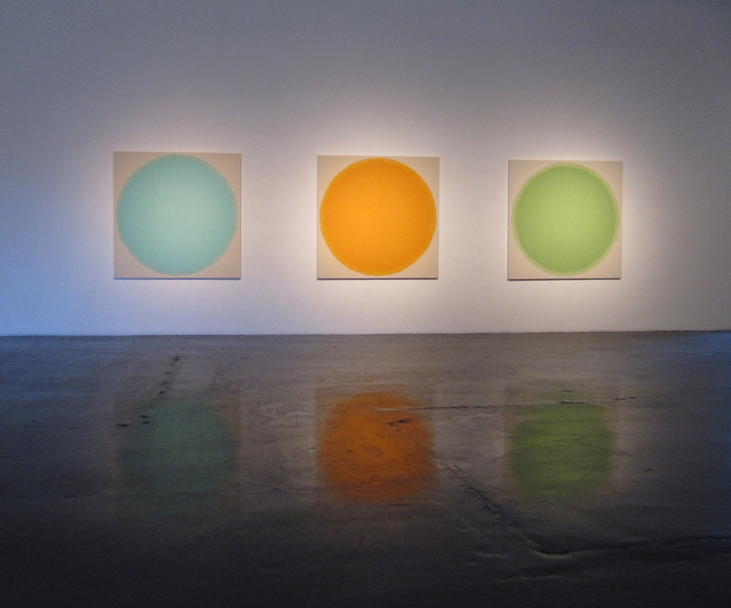 Installation of Circle Paintings, William Turner Gallery