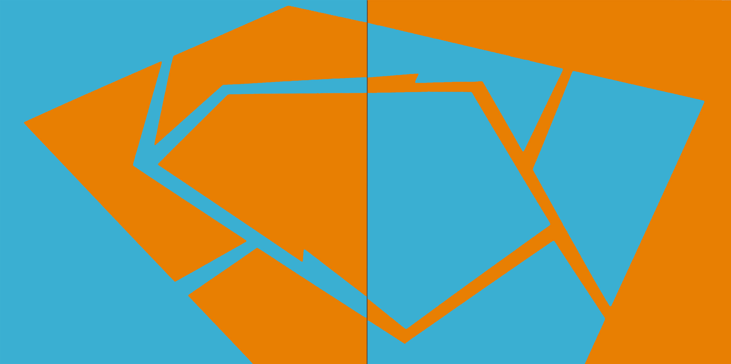 PLACE OF DIFFERENCE: Sky Blue and Mandarin (diptych)