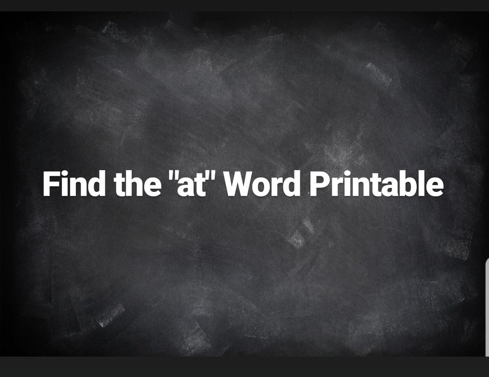 "Find the ""at"" word Printable"