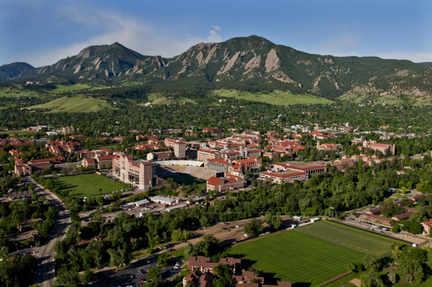 Aerial photo of the University of Colorado Boulder campus.  (Photo by Glenn Asakawa/University of Colorado)