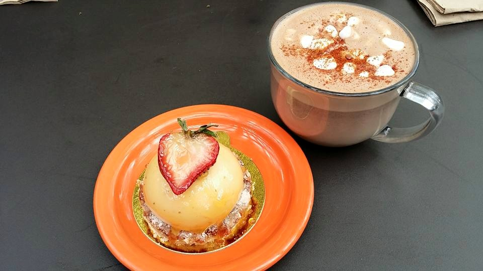 Orange cheesecake with Mexican Mocha