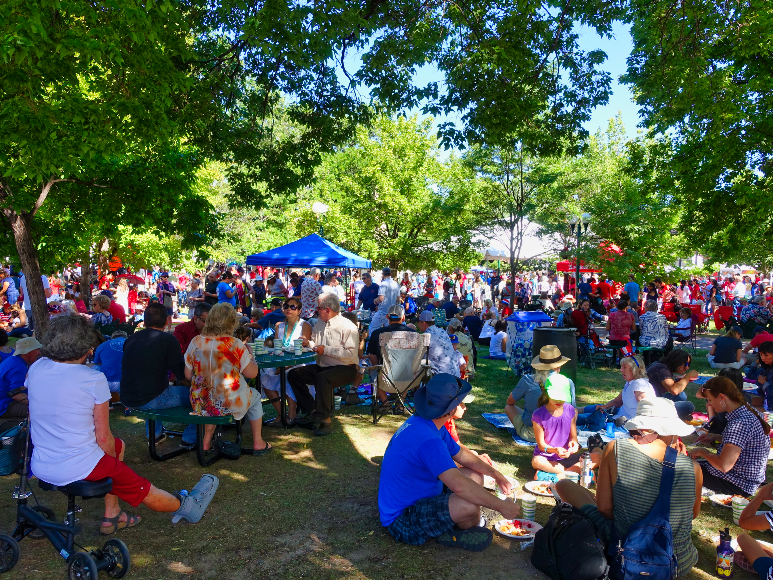 The day was perfect. Folks enjoying the pancakes in the shade.