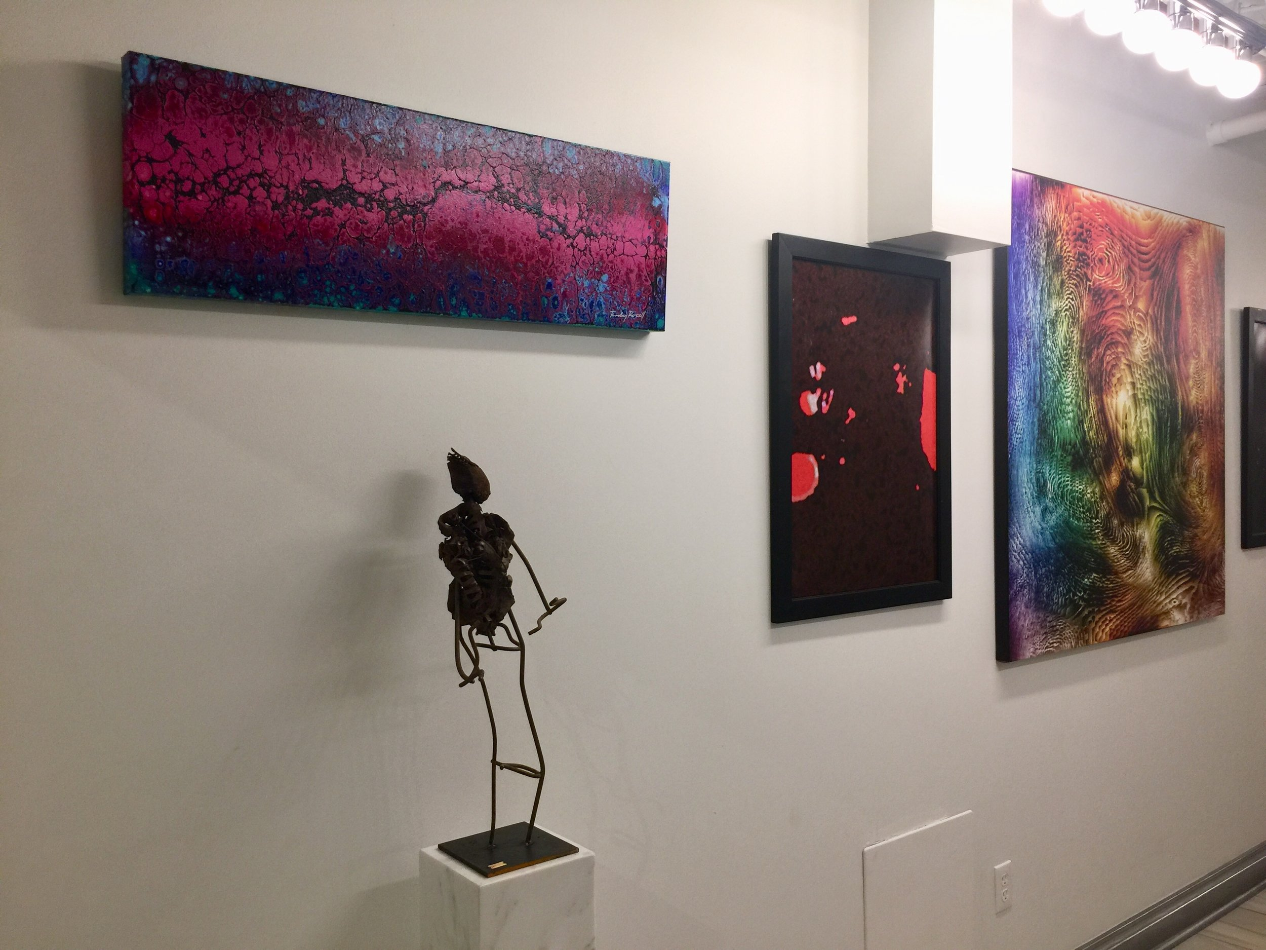 Painting by Rodney Rozell, sculpture by Michael Hanes, and prints by Allin KHG