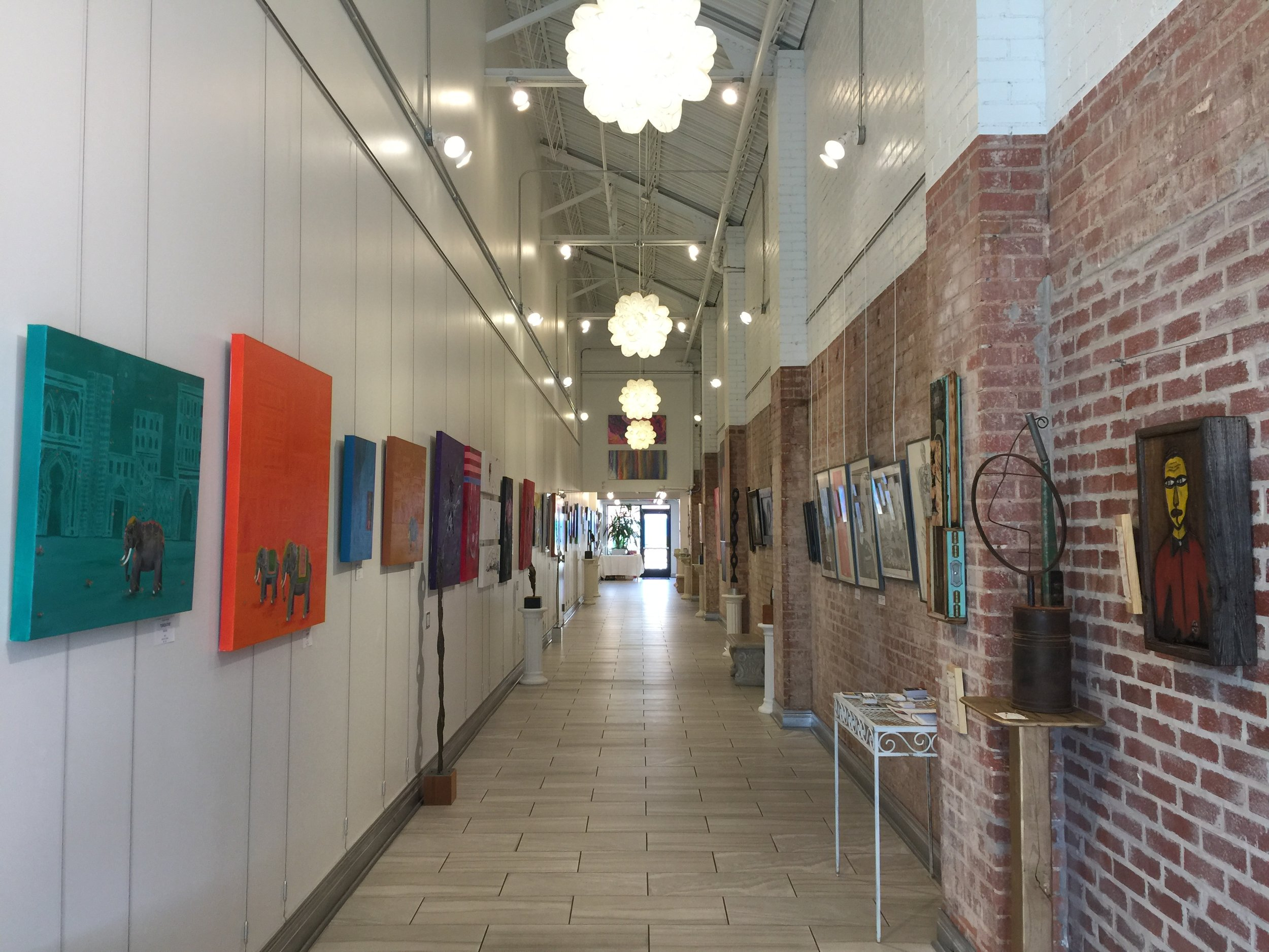 Installation view facing North, with work by adrienne wright on the left and Gary Locke on the right