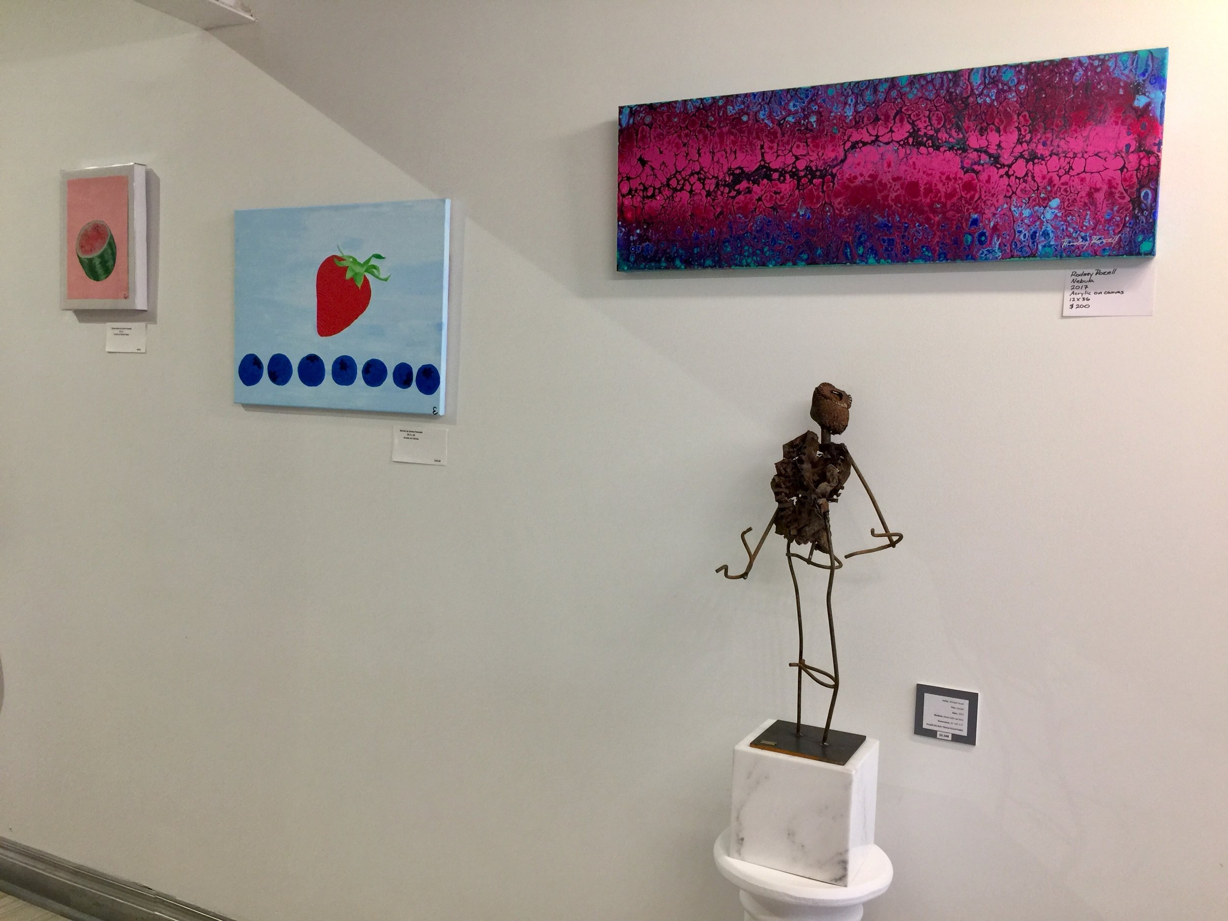 Paintings by Emma Fresonke and Rodney Rozell, sculpture by Michael Hanes