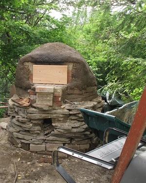 MY freshly built oven sitting on Linda's stone.