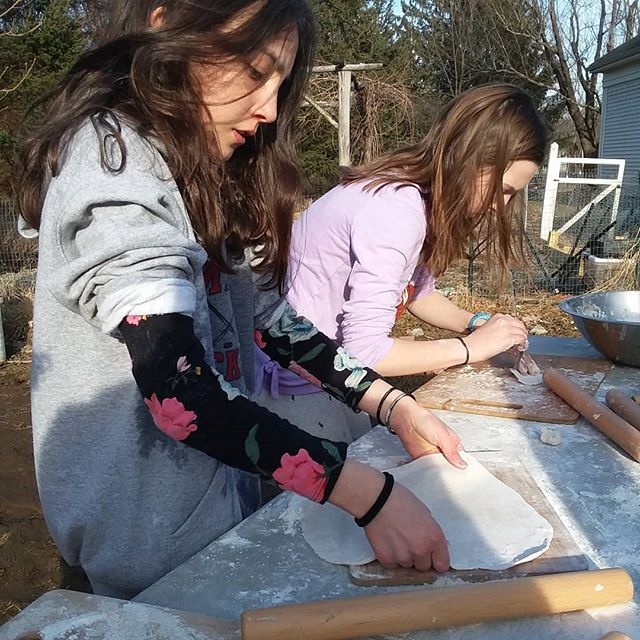 Rolling matzah. To make it kosher for passover, we need to be totally dine baking the matzah within 18 minutes from the moment water first hits the flour. #matzah #passover #jewish #hebrewschool #localgrain #spring #kidscooking #flatbread