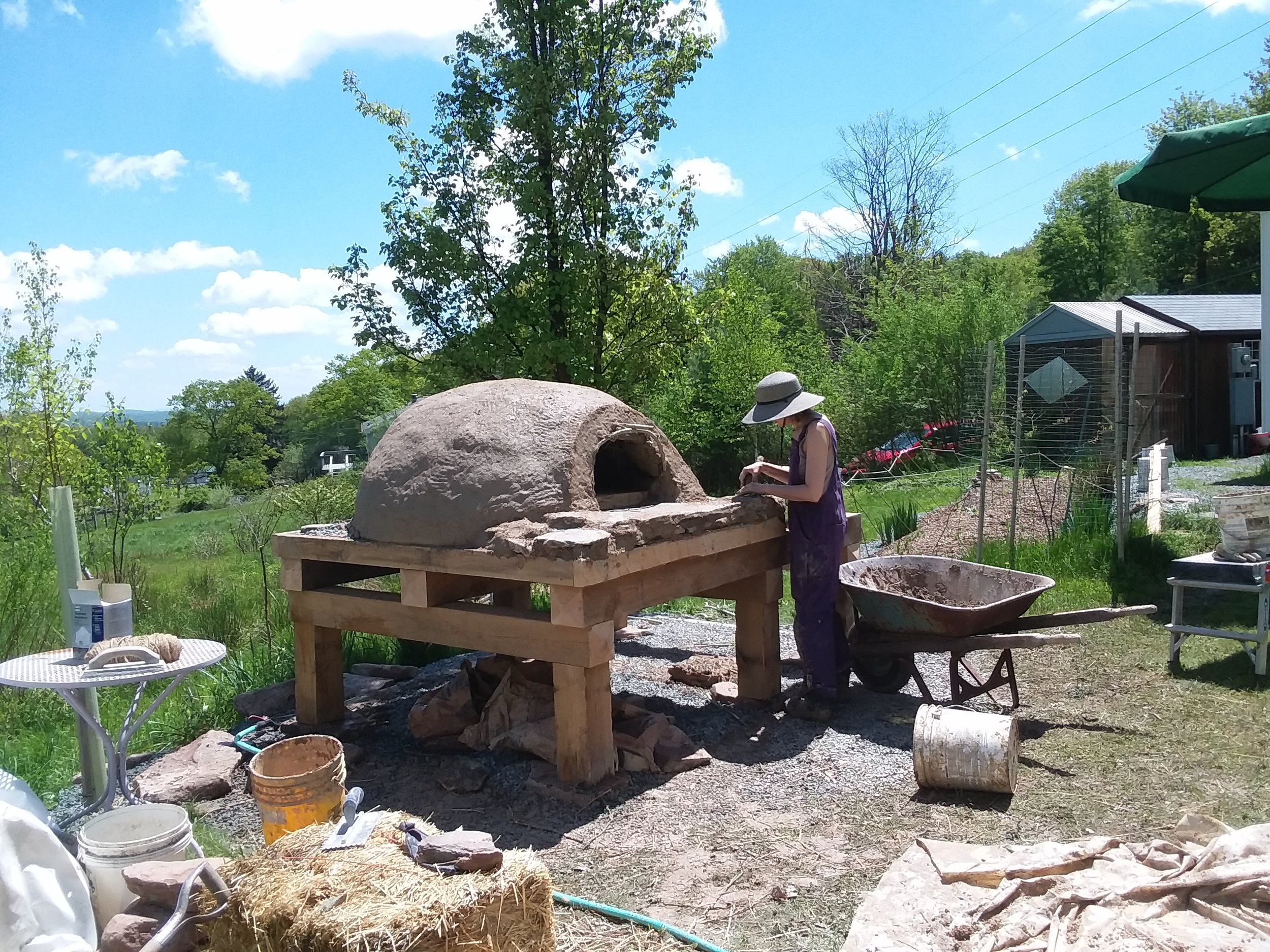 A clay oven built as a workshop in Liberty, NY getting it's final touches.