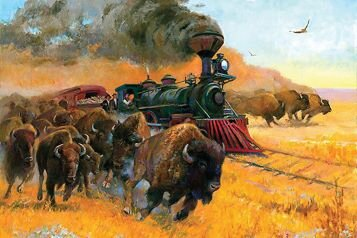 Thunder and Iron - Thunder and Iron, a 32-inch-x-36-inch oil on linen is a powerful example of Sherry Blanchard Stuart's passion for painting the people, culture and history of the American West. — Art courtesy Sherry Blanchard Stuart —