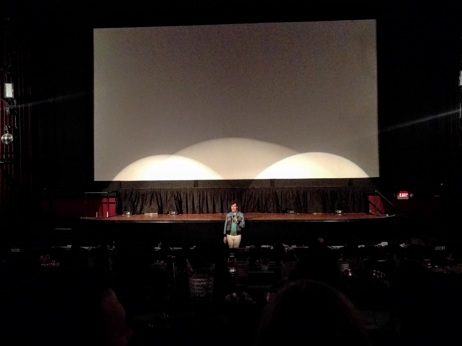 Stefan Sagmeister answering audience questions at the Alamo Drafthouse Ritz after a showing of his film,  The Happy Film