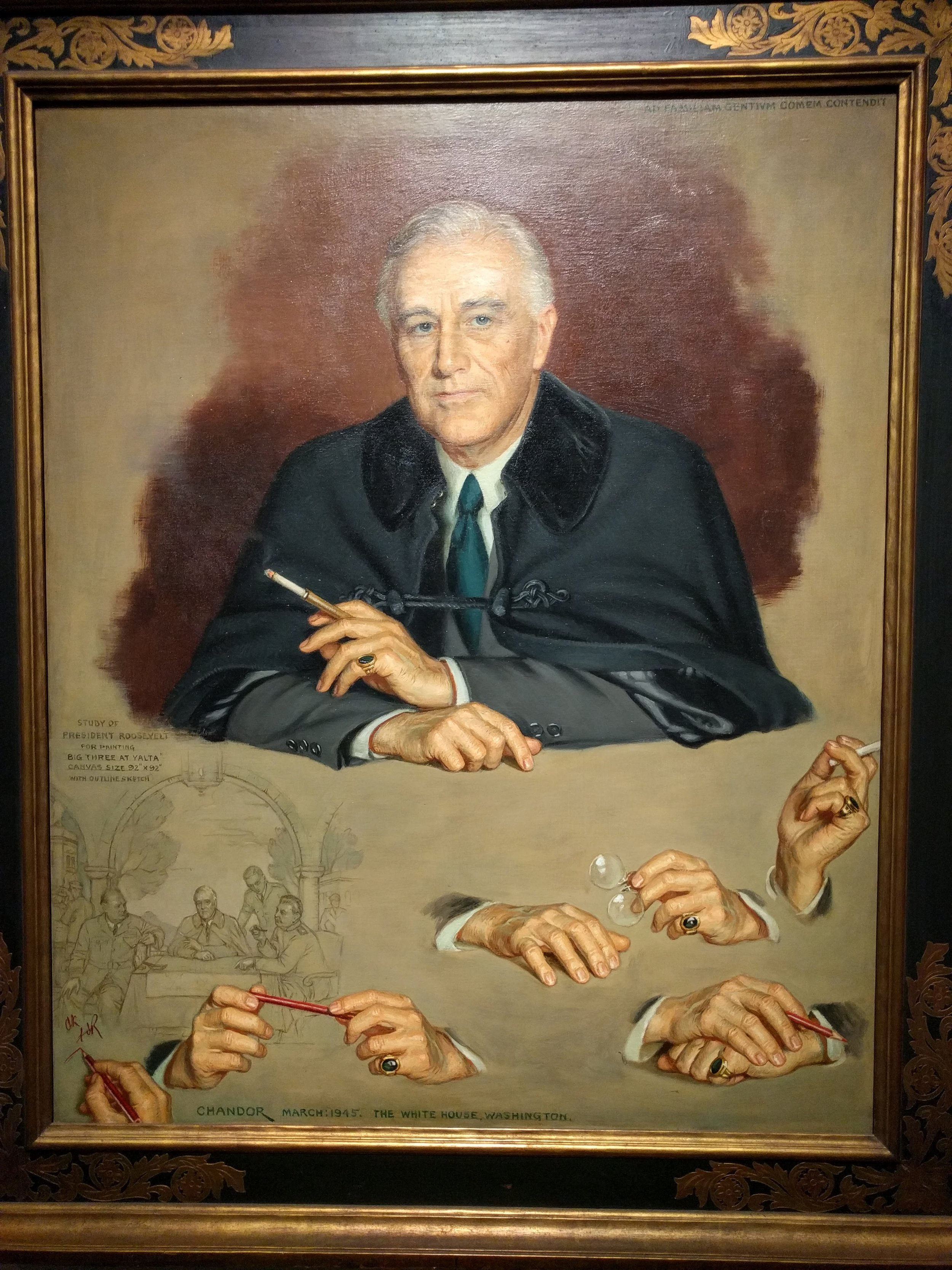 This was one of my favorite pieces because I'm mesmerized by the artist's (John Christen Johansen) hand studies of President Woodrow Wilson