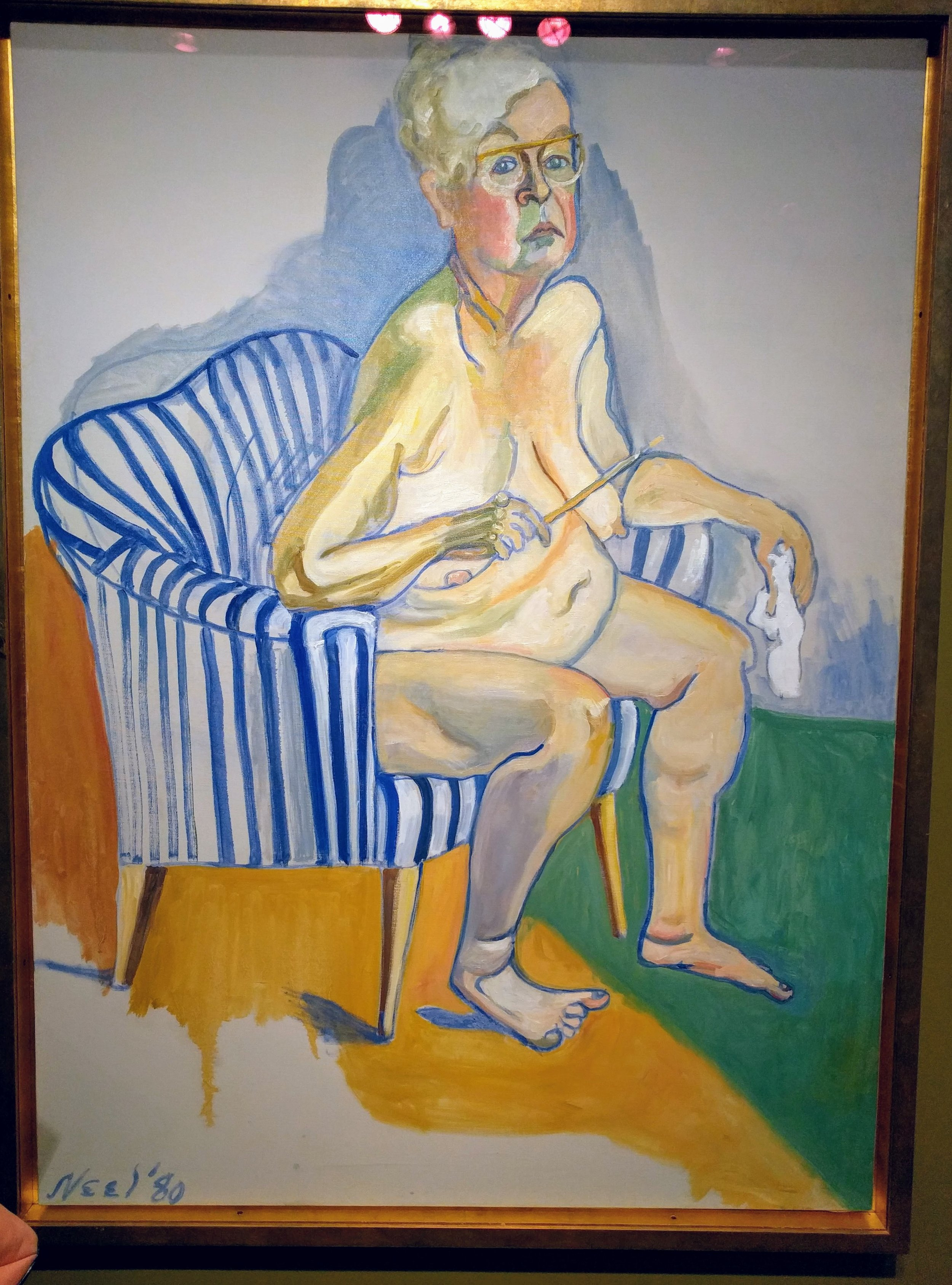 """Self portrait by Alice Neel: one of my favorites in the American Art Museum. She said, """"the reason my cheeks got so pink was that it was so hard for me to paint that I almost killed myself painting it."""""""