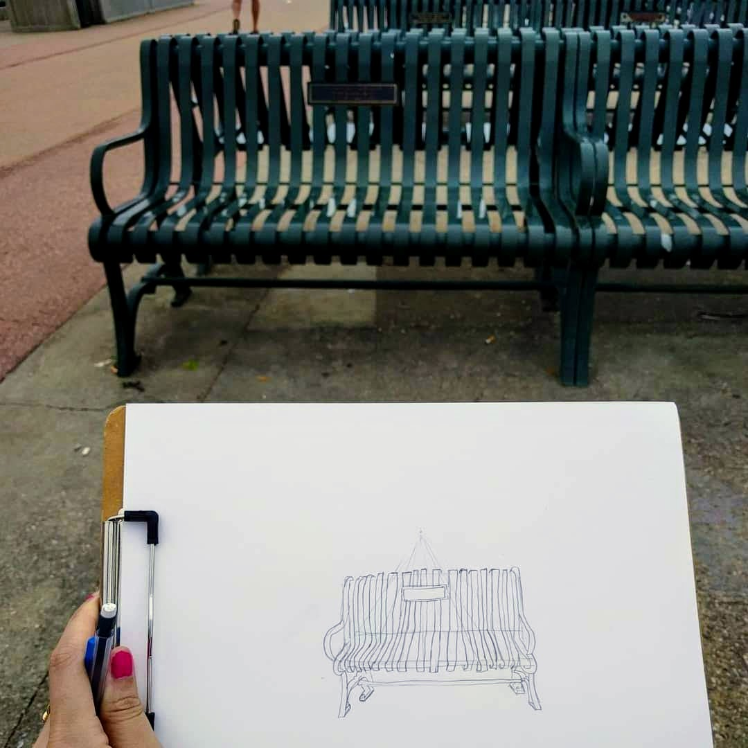 My sketch and the bench