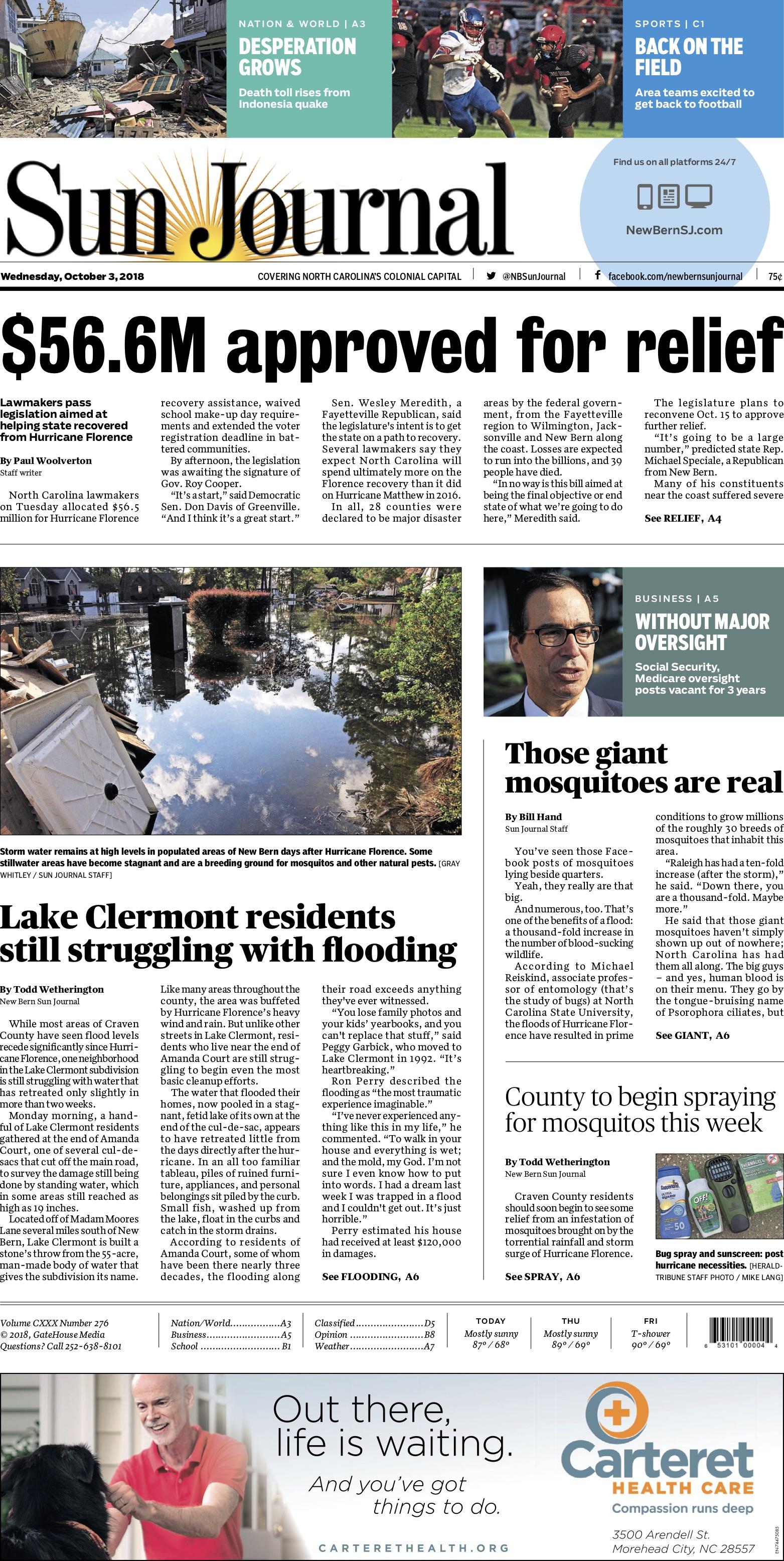 A1 of the New Bern Sun Journal (New Bern, NC) 10/3/2018