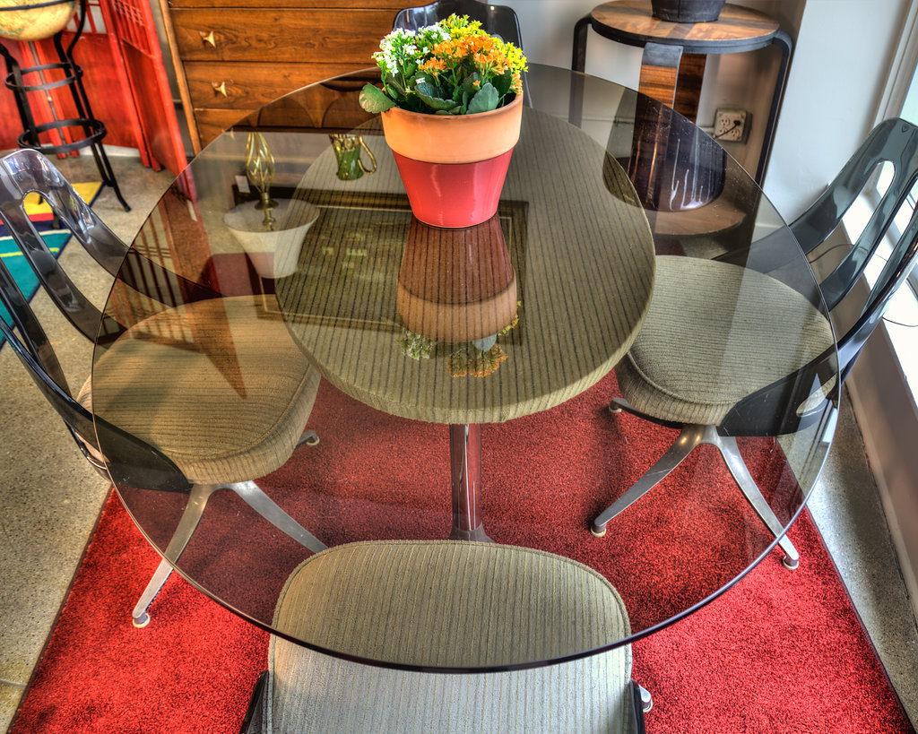 Glass top Dining Room Table with Acrylic-backed (4) Corduroy Padded Chairs