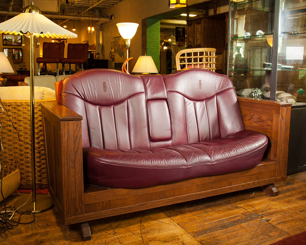 1980s Lincoln Continental Back Seat Sofa – Perfect for the man-cave.