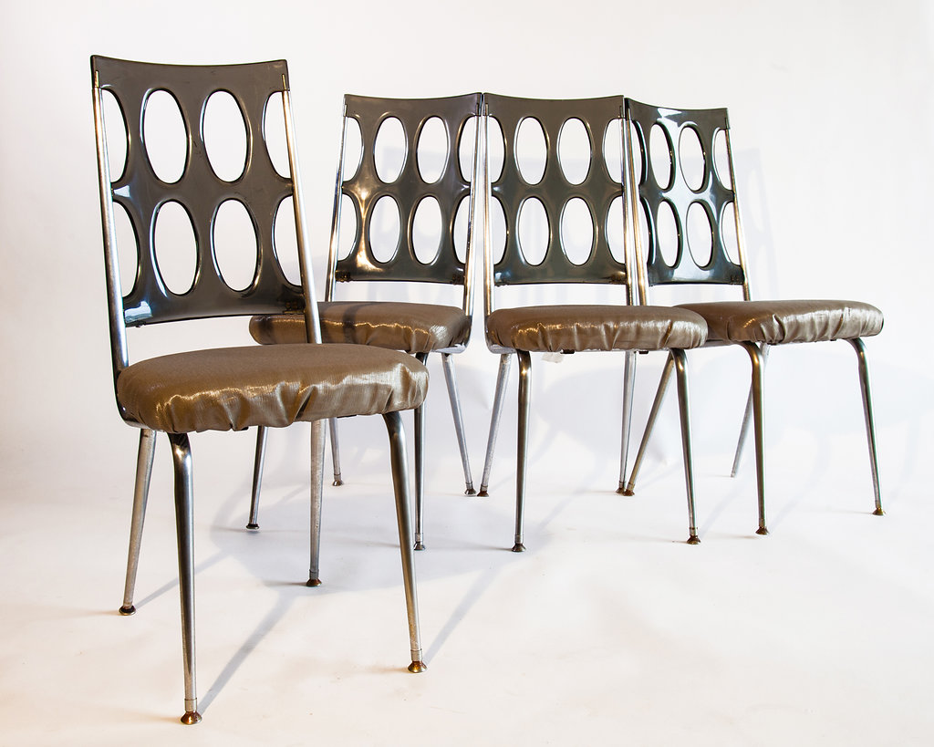 Take your décor to a whole new level with these 1960s acrylic-backed chairs, adding a little shimmer of delight to your holiday entertaining experience.