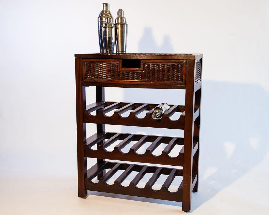 This cherry wood wine rack with serving space is a great fit in any home to help socialize with friends and family during the holiday season.