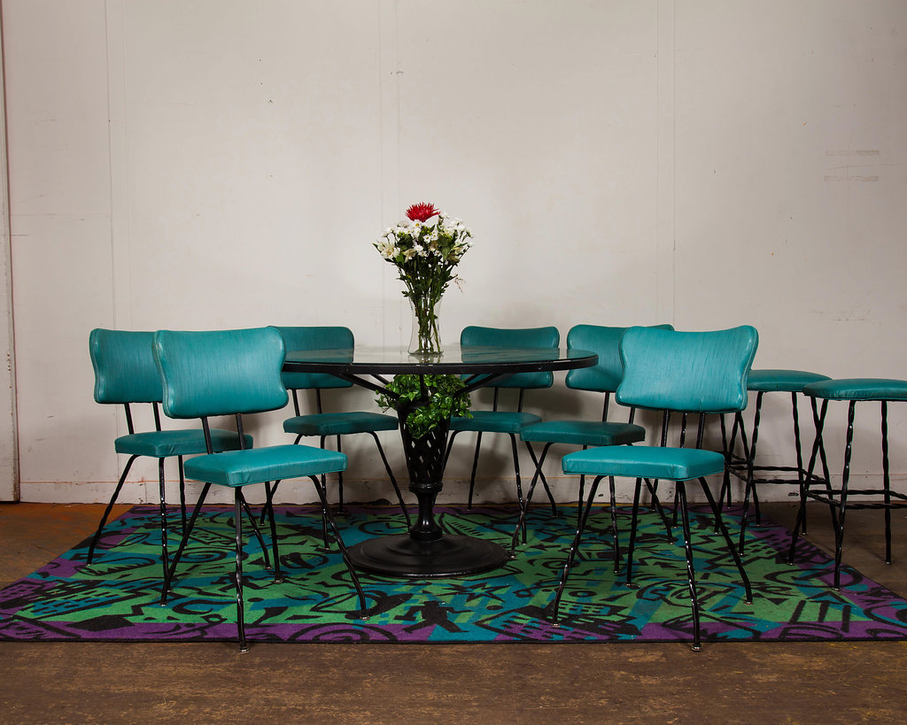 This colorful vintage table and chairs with bar stools ensemble would match-up perfectly with a rainbow of colors in the kitchen this winter season.