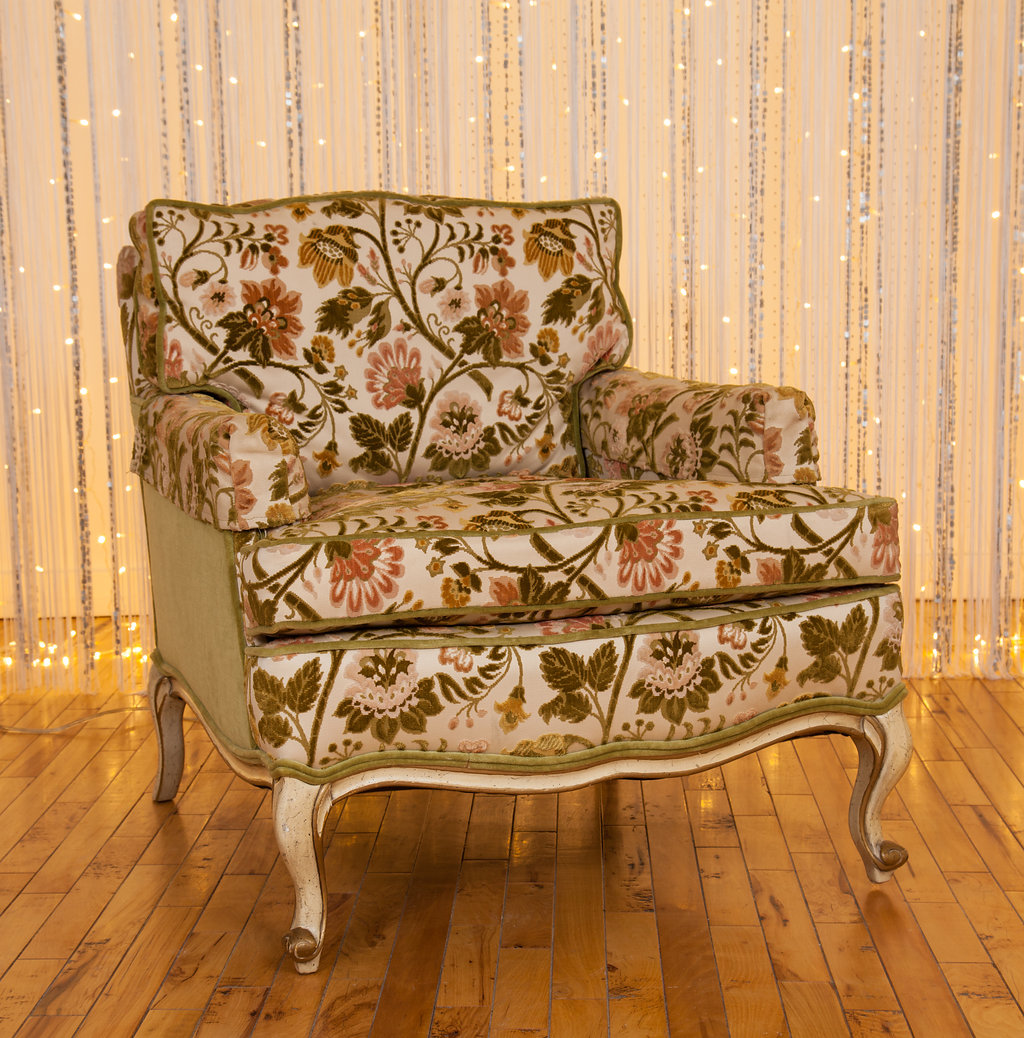 This  1970s Velour Floral  chair is part of a set that will be the centerpiece of a fresh Marrakesh ensemble.