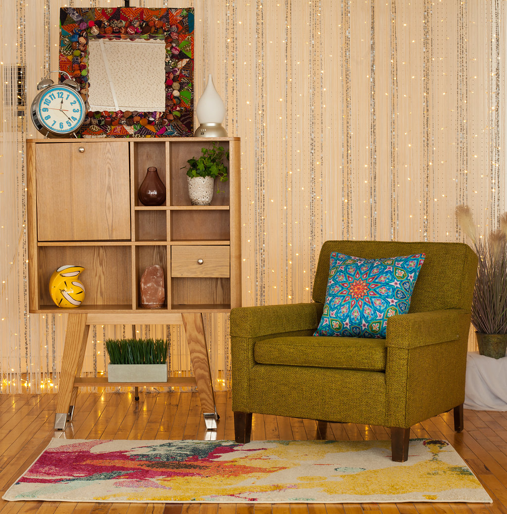 Featuring an Avocado Tweed Accent Chair