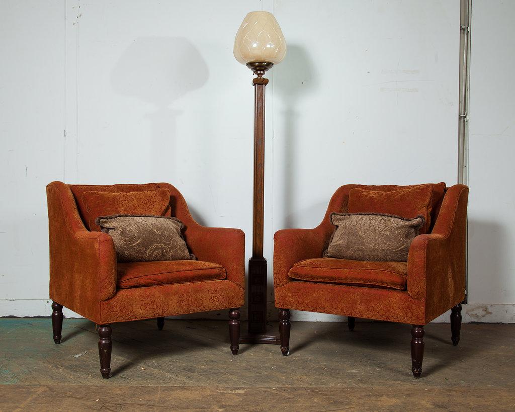 1970s Orange Felt Velour Chairs