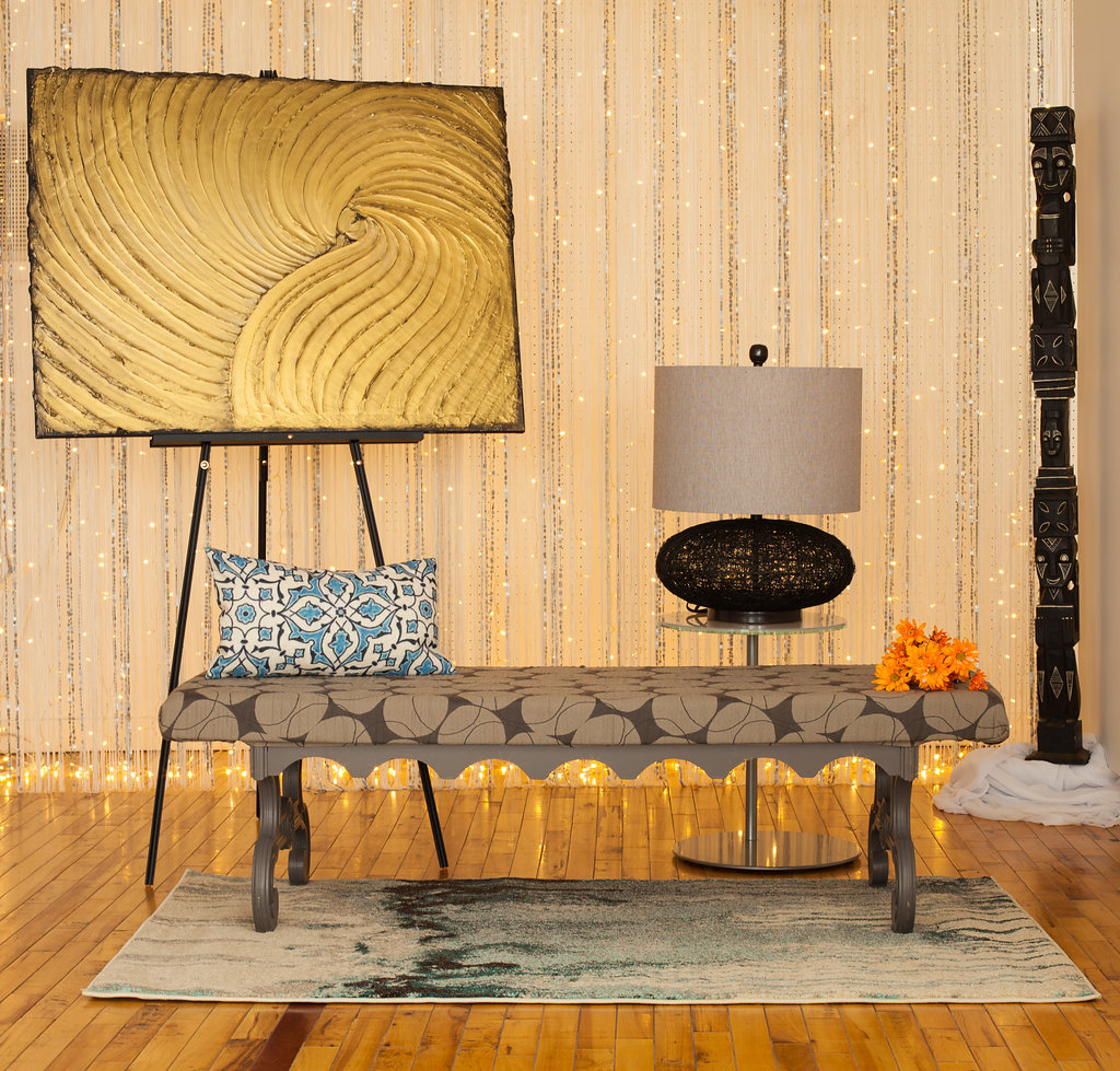 Lane Patterned Fabric on Etched Wood Bench has a slightly modern look that is great for subtly adding geometric patterns.