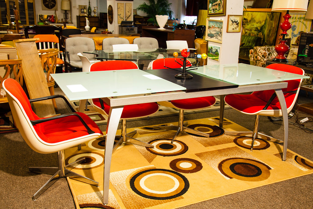 Looking for a Mid-Century piece that has a modern, simplistic look? Check out this 1990's Glass Dining Room Table.