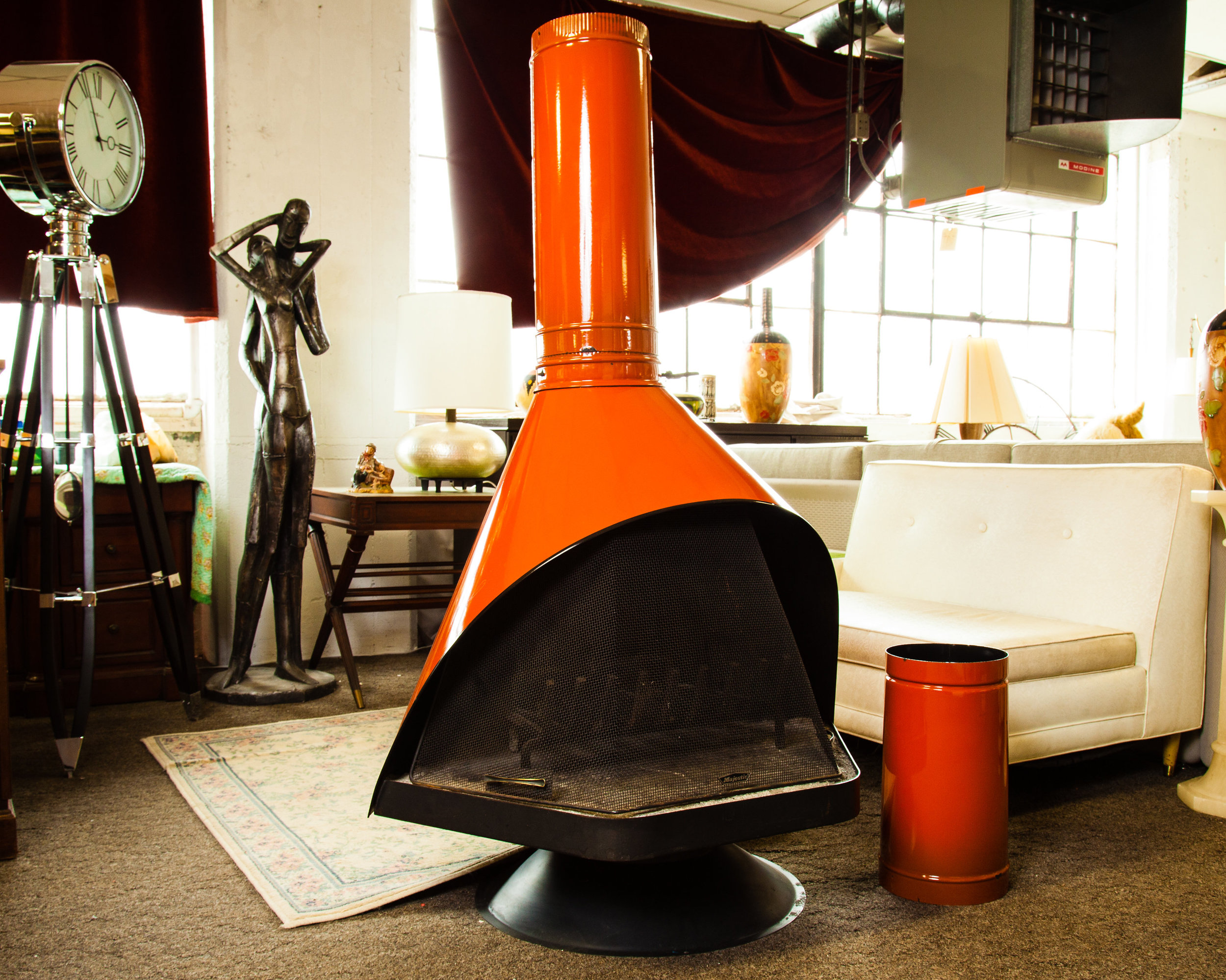 As the weather warms up, order this 1960's Wood Burning Free-Standing Fireplace for all of your outdoor bonfire and cooking desires.