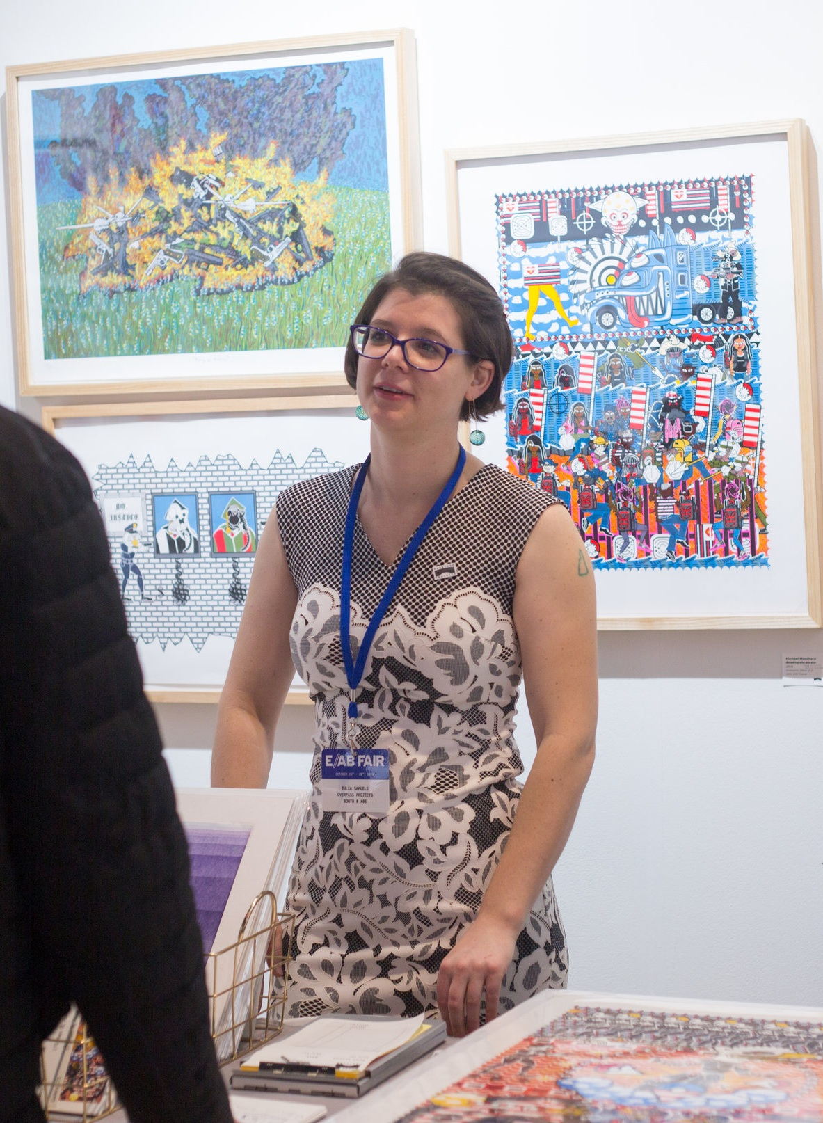 Master Printer Julia Samuels representing Overpass at the E/AB Fair in 2018.