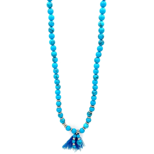 Turquoise Agate Beaded Necklace with Tassel