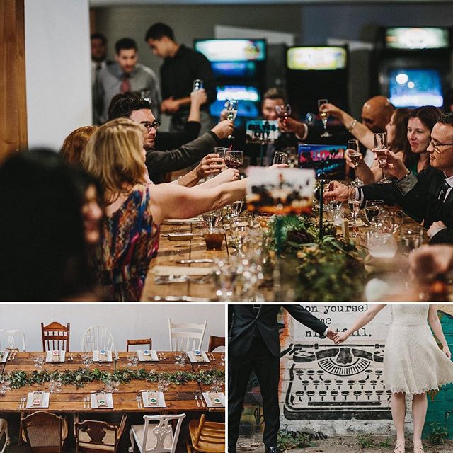 Cheers to the weekend!! 🥂 We love this shot from C+L's wedding- booze and games? Yes please! We served up a delicious wild mushroom risotto cake with lemon aioli and rapini flowers 🍋🍄💐 Photography by @campbellphotography / Event Design by @jennlaskey • • •  #wedding #catering #cater #engagement #weddingideas #weddinginspo #brides #foodphotography #foodpic #arcade #barcade #mushroom #dinner #bridal #hollywood #losangeles #eventspace #events #food #foodie #tasty #tablescape #foodphoto #reception