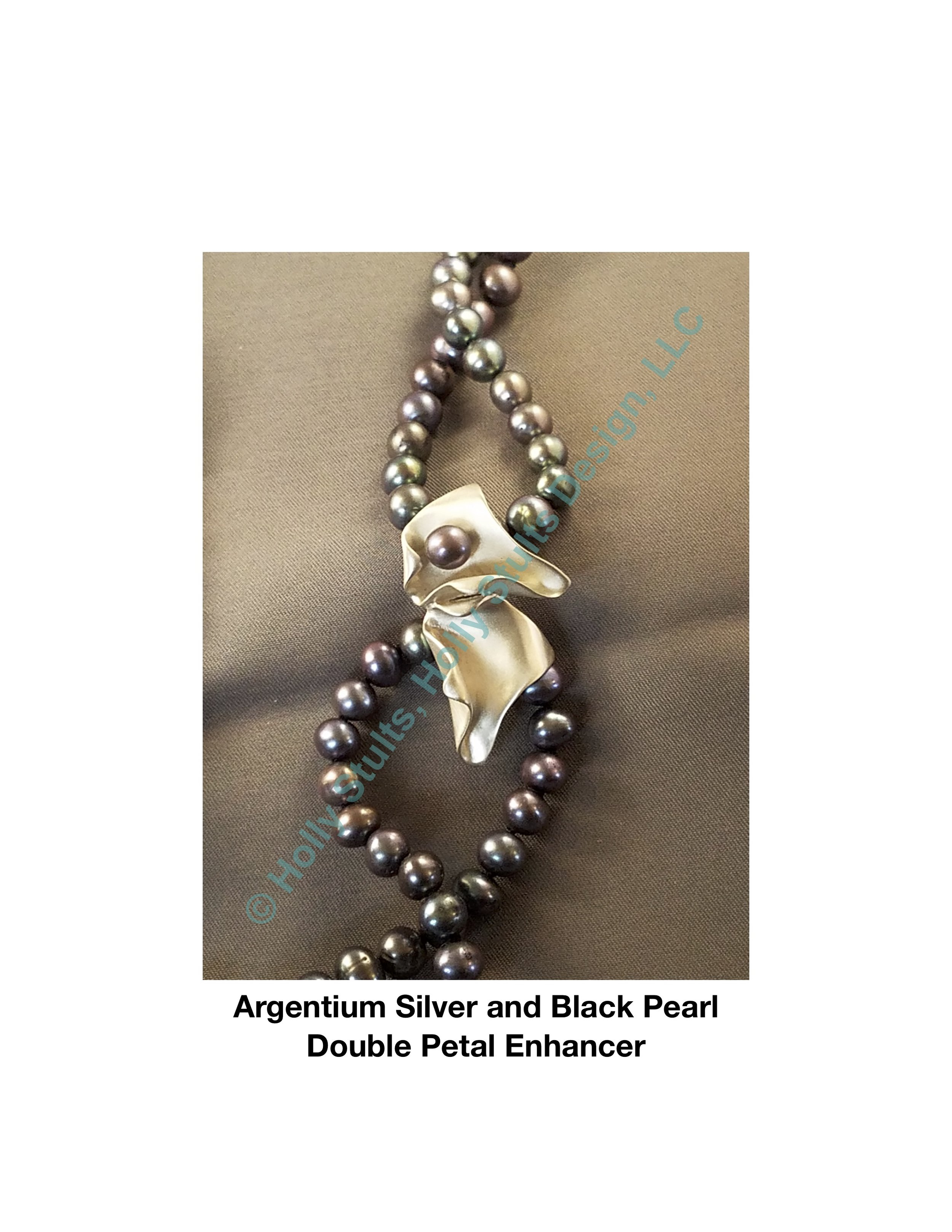 Argentium Silver and Black Pearl Double Petal Enhancer.jpg