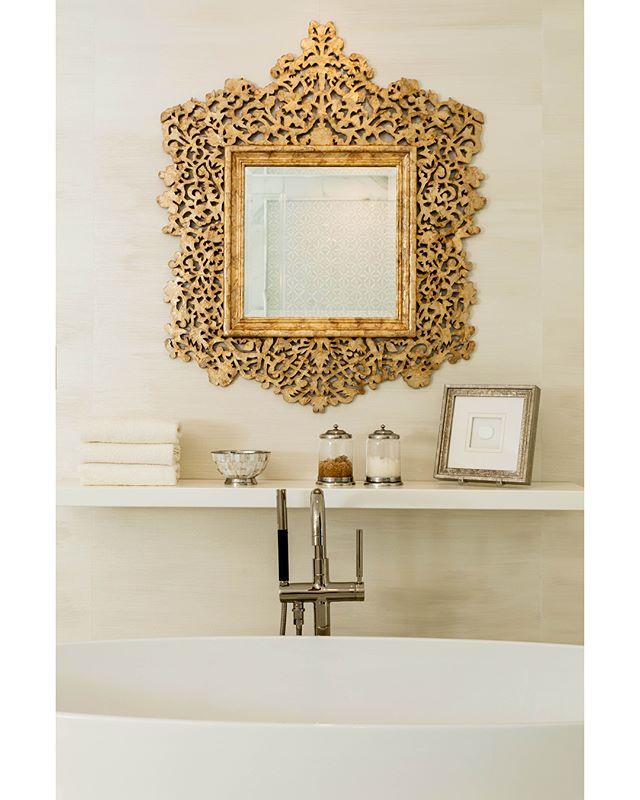 Modern and clean bathroom renovation. Swipe to the end for the before!  Capiz Shell Mirror: Made Goods @madegoods  Gorgeous Faux Silk Walls: Kelly Walker @artstarbaltimore My Fav Towels: Julia B @juliabhandmadeforlife . . . . . #bathroomremodel #bathroom #bathroomdesign #madegoods #silk #whitedecor #whitedesign #traditionalhome #glamorous #capizshell #capiz #floatingshelves #beautifulbathroom #interiordesign #juliab