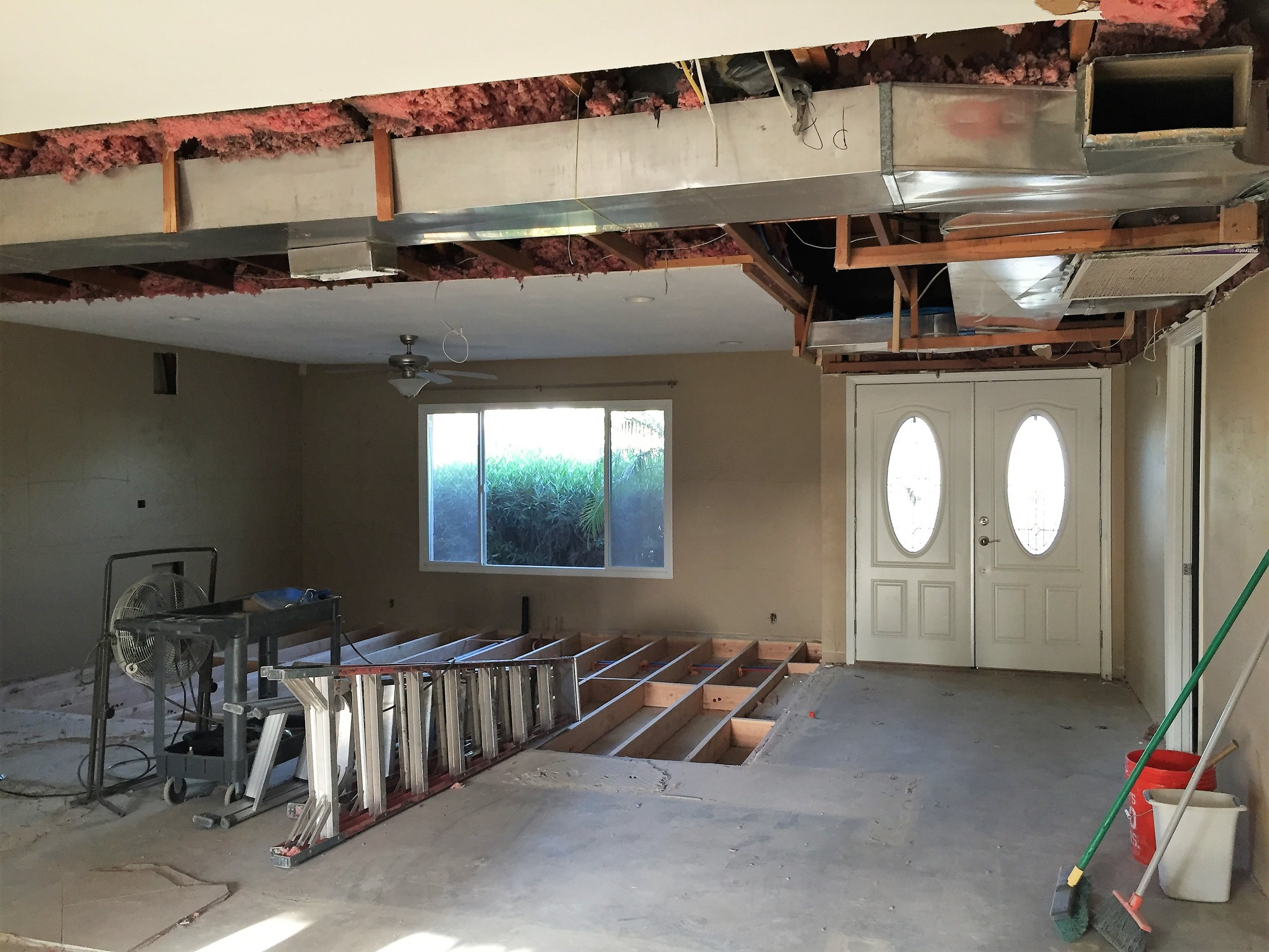 After demo: Kitchen is no longer in the middle of the house (from the right.) So long, closed off kitchen!