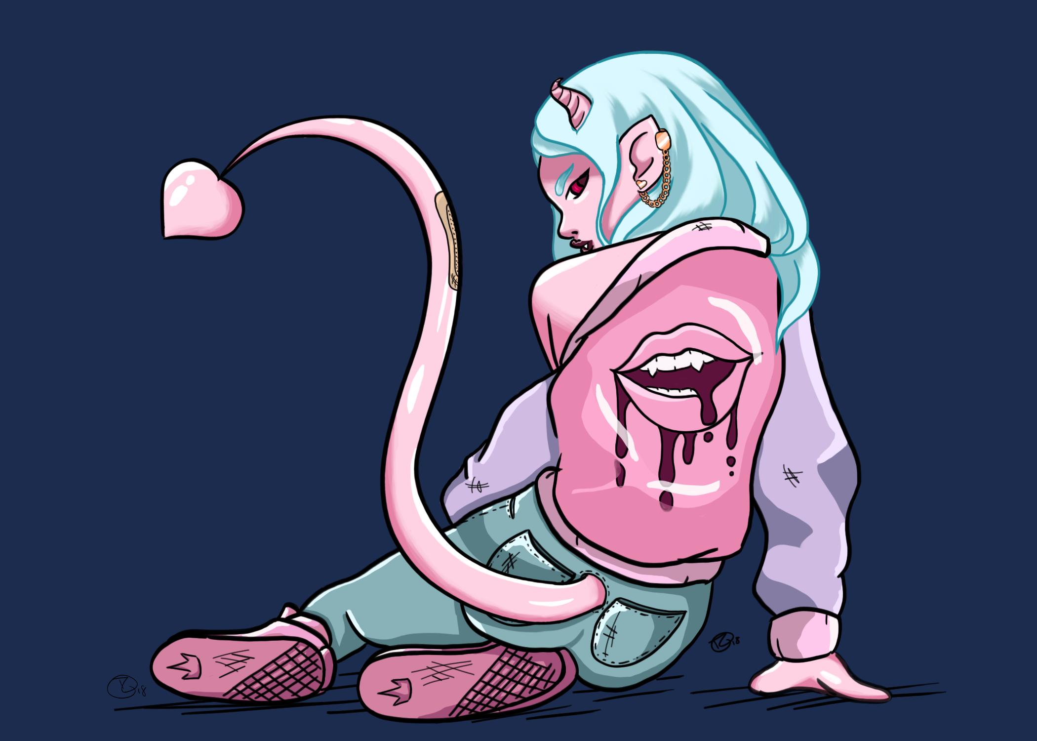 Demon Girl Illustration, Personal Original Character
