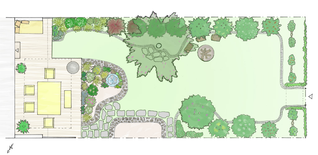 Entwurf Reihenhaus-Garten M.