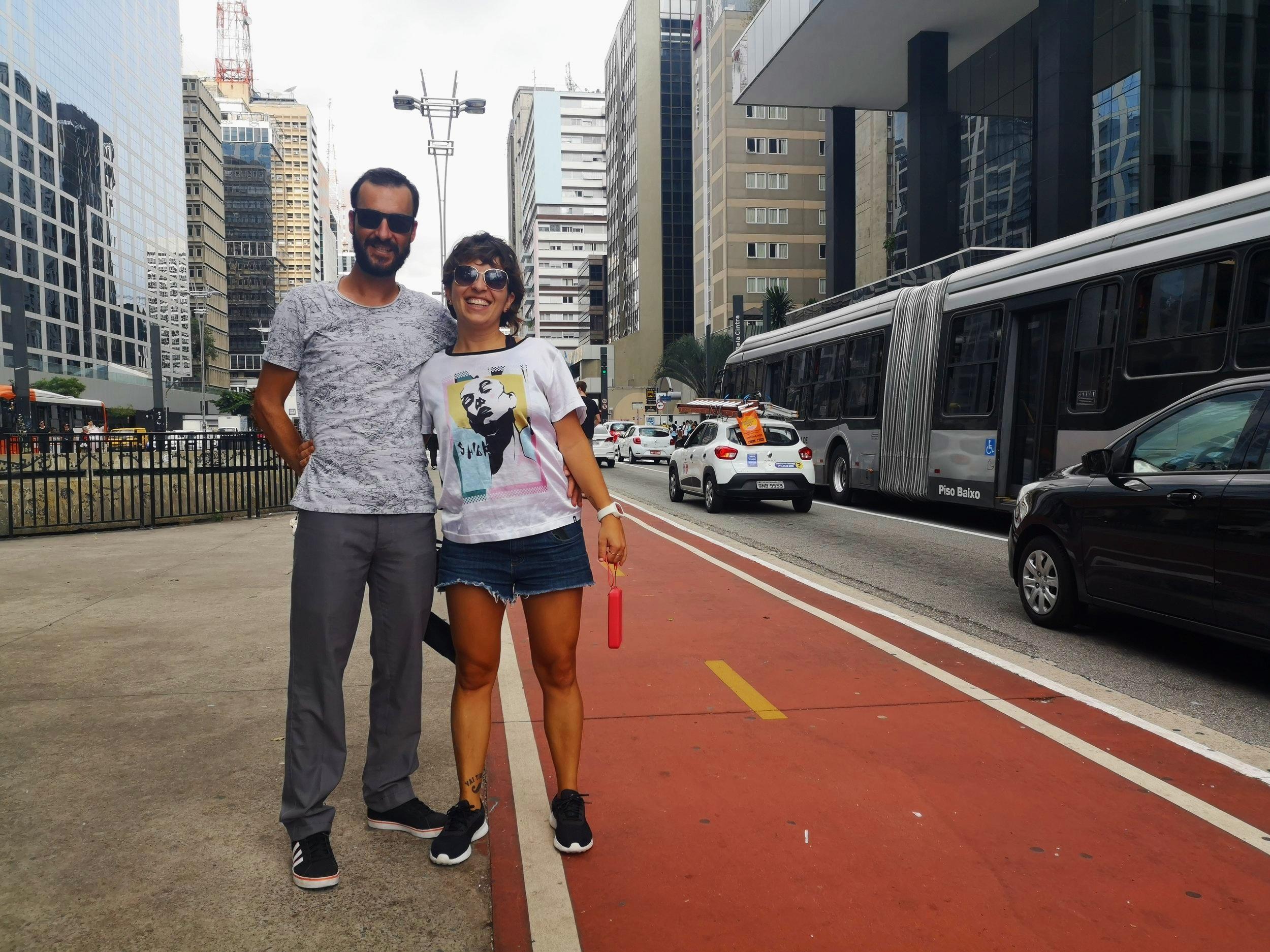 Aline Cavalcante and her partner Brunno Carvalho nearby Praca Cyclista on Paulista Avenue.