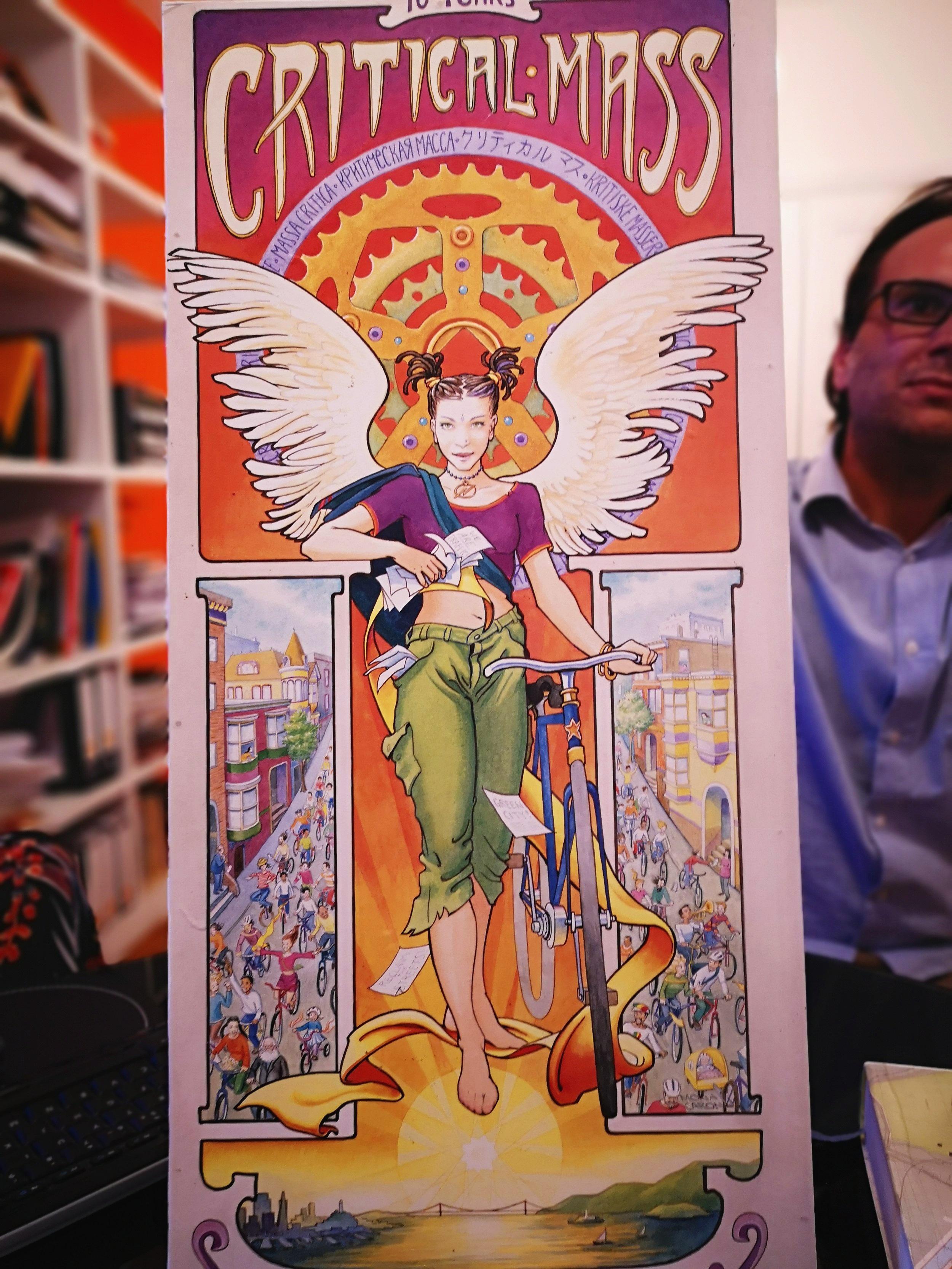 Urban planner and social cycling entrepreneur Ricardo Correa shows a poster of  Critical Mass .