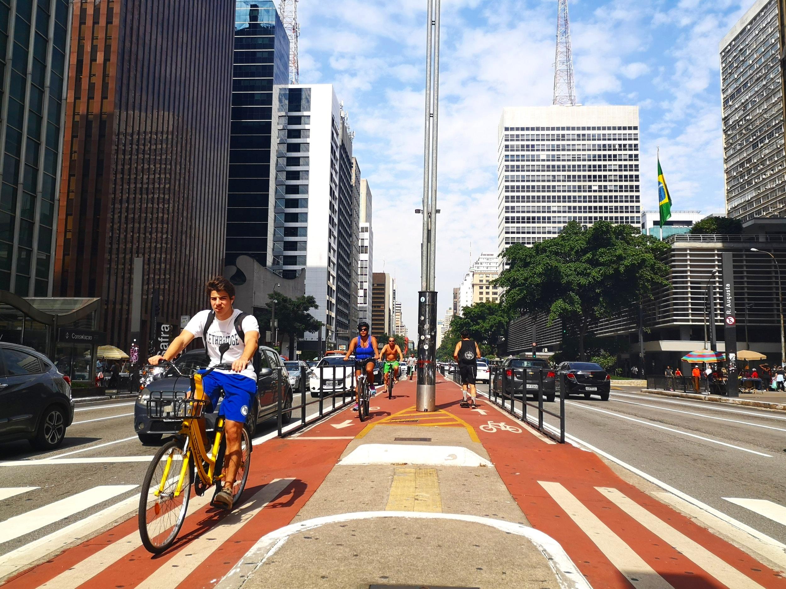 Cyclists on Paulista Avenue.