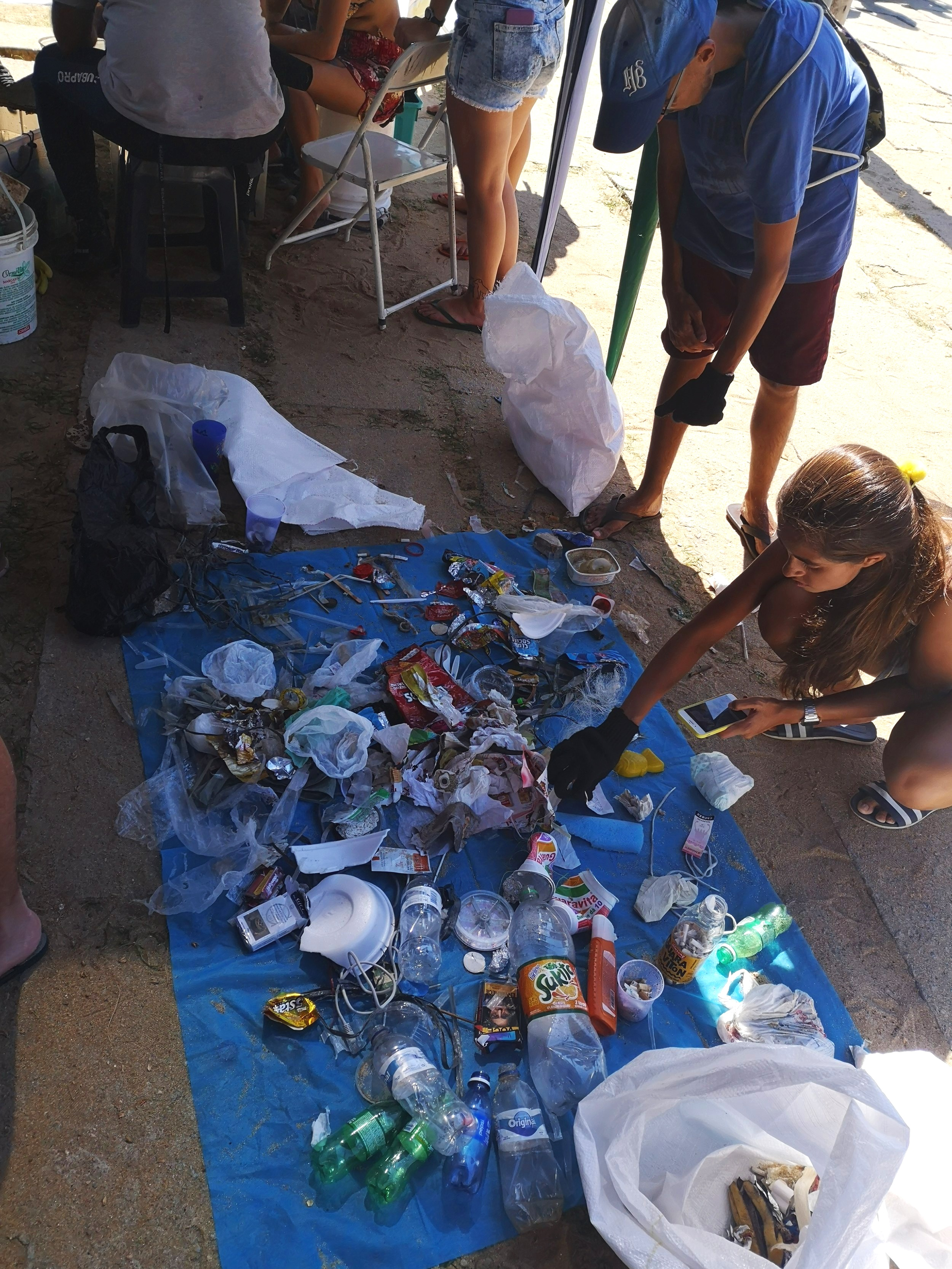 The result of one hour of cleaning the beach at Praia Vermelha.
