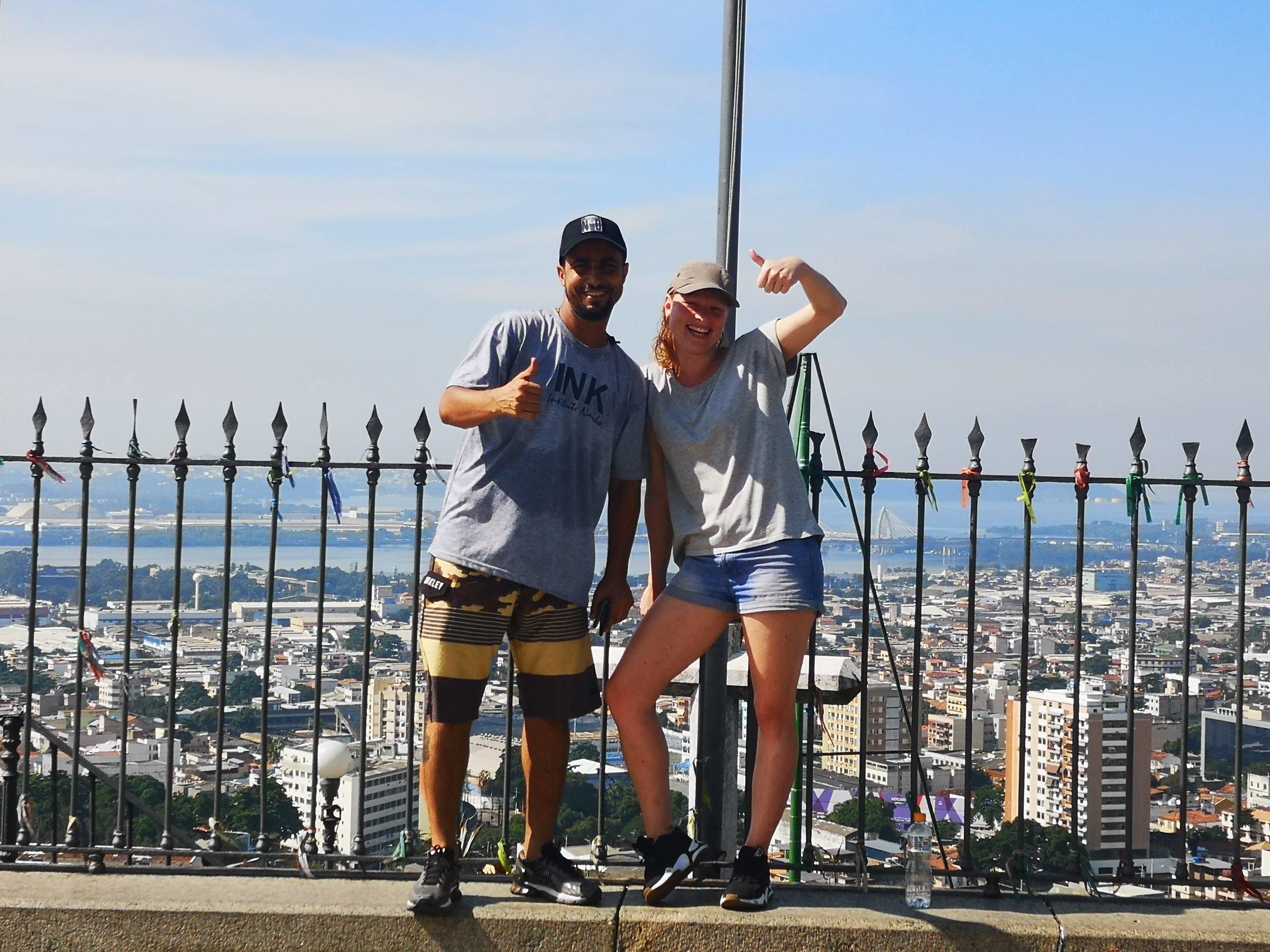 Marijne with former project coordinator and tour guide Fabio at Basilica da Penha.