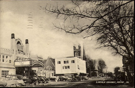 "A 1950's Postcard Showing the ""Lincoln Highway,"" and the Front of the Theatre."