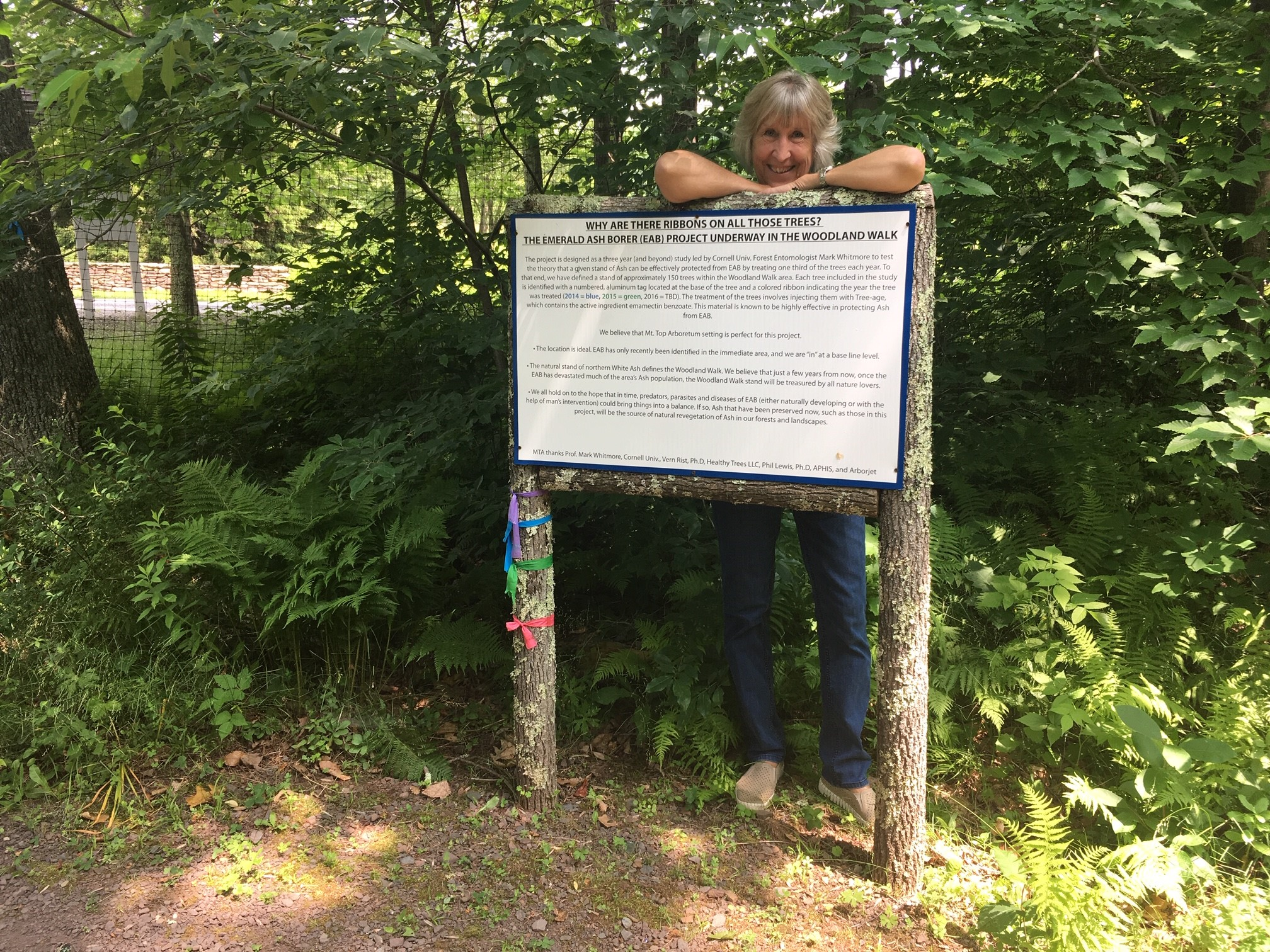 Debbie stands behind the sign for the Emerald Ash Borer Project in the Woodland Walk, an effort she has been helping with since 2014.