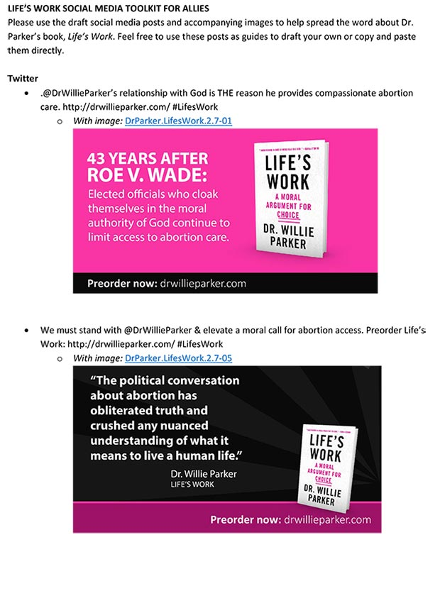 Social Media Toolkit for Allies - Please use the draft social media posts and accompanying images to help spread the word about Dr. Parker's book, Life's Work. Feel free to use these posts as guides to draft your own or copy and paste them directly.