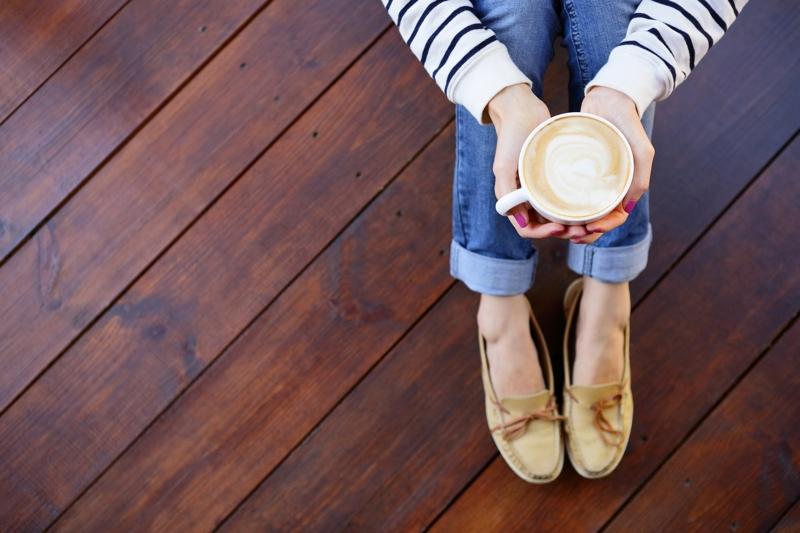 homeowner after installing engineered hardwood flooring