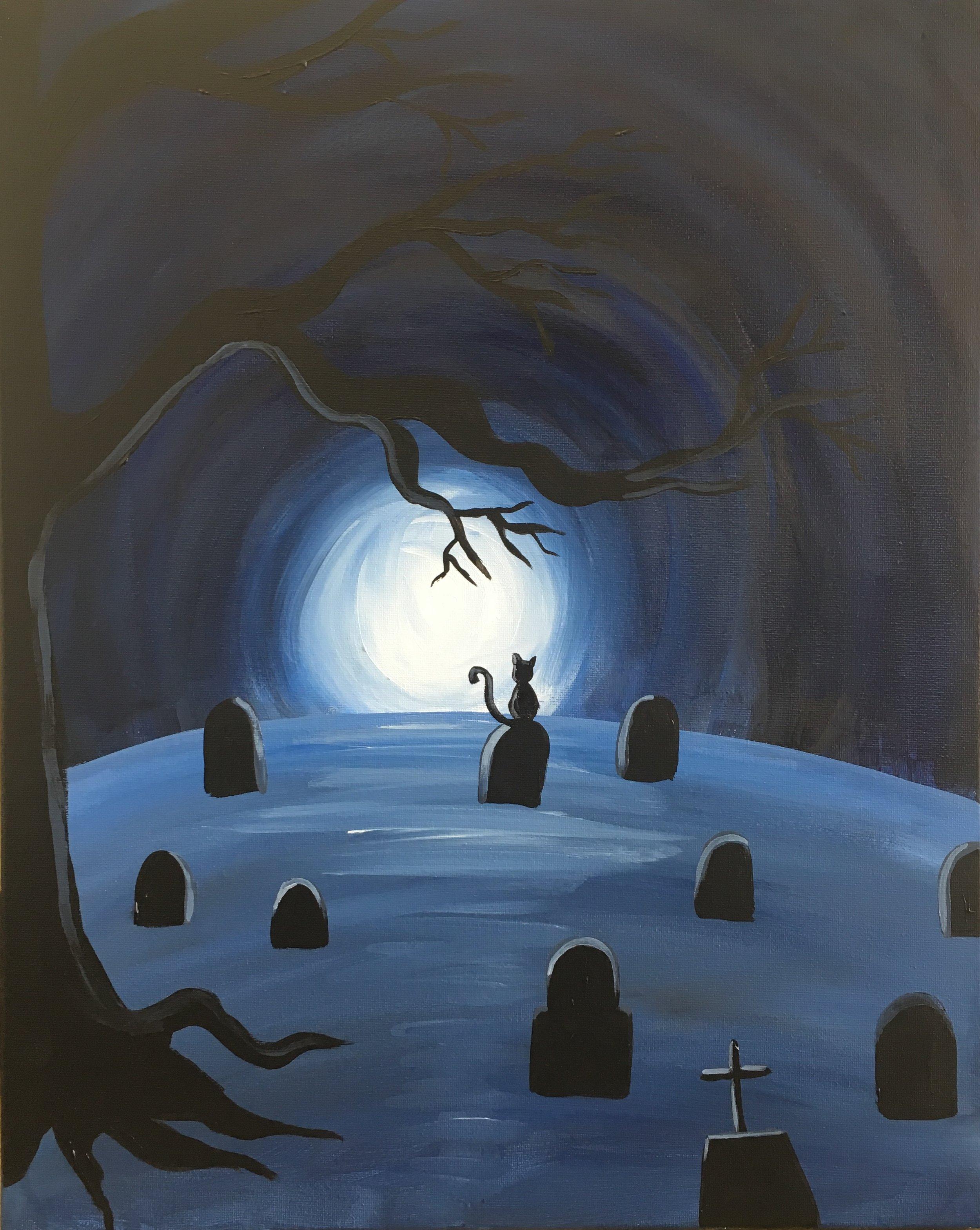 *Black Cat in Spooky Graveyard