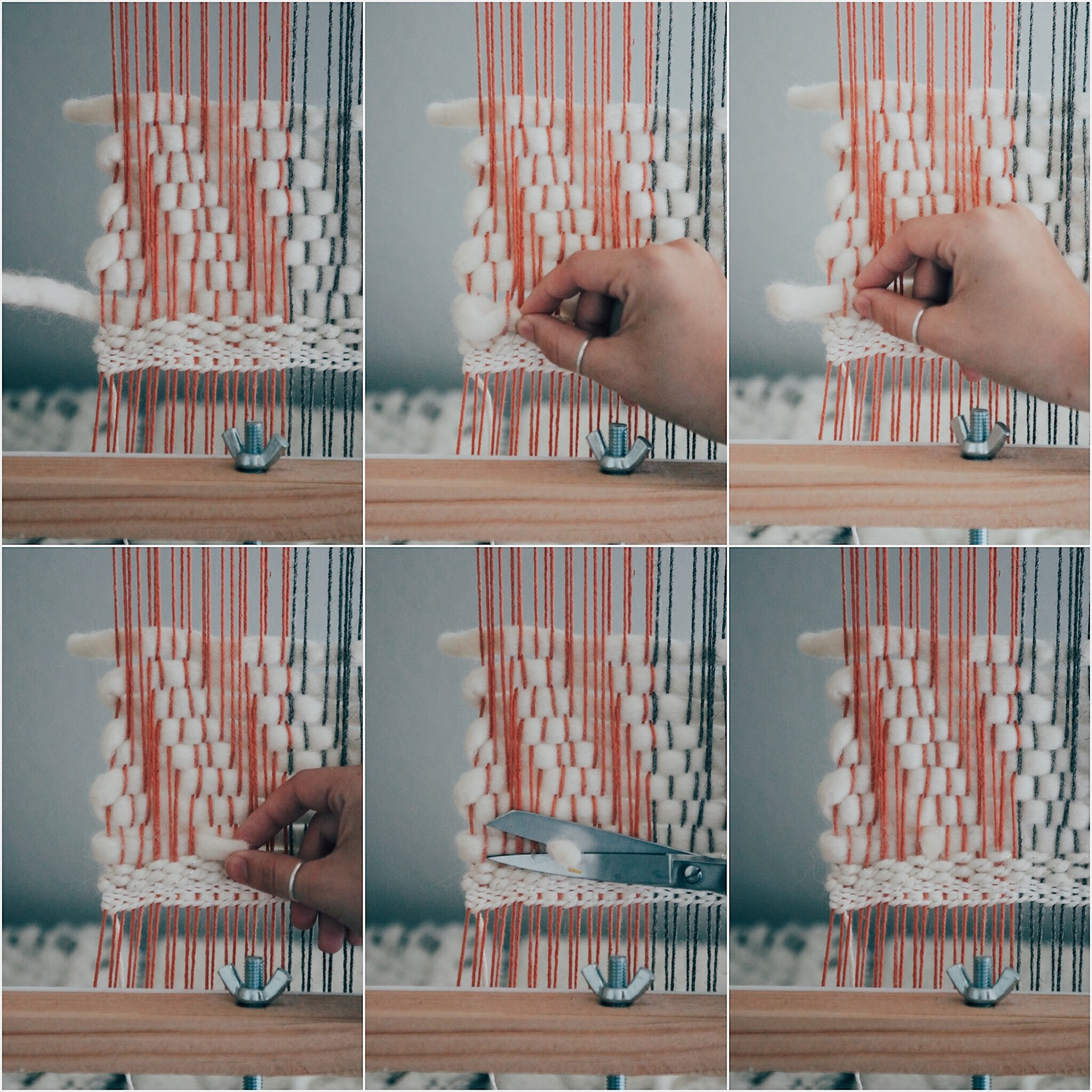 Weaving with chunky yarn tutorial. Tuck the end.