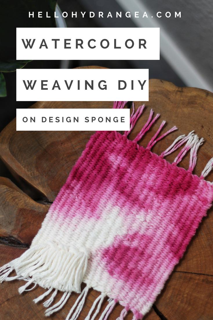 watercolor weaving design sponge hello hydrangea