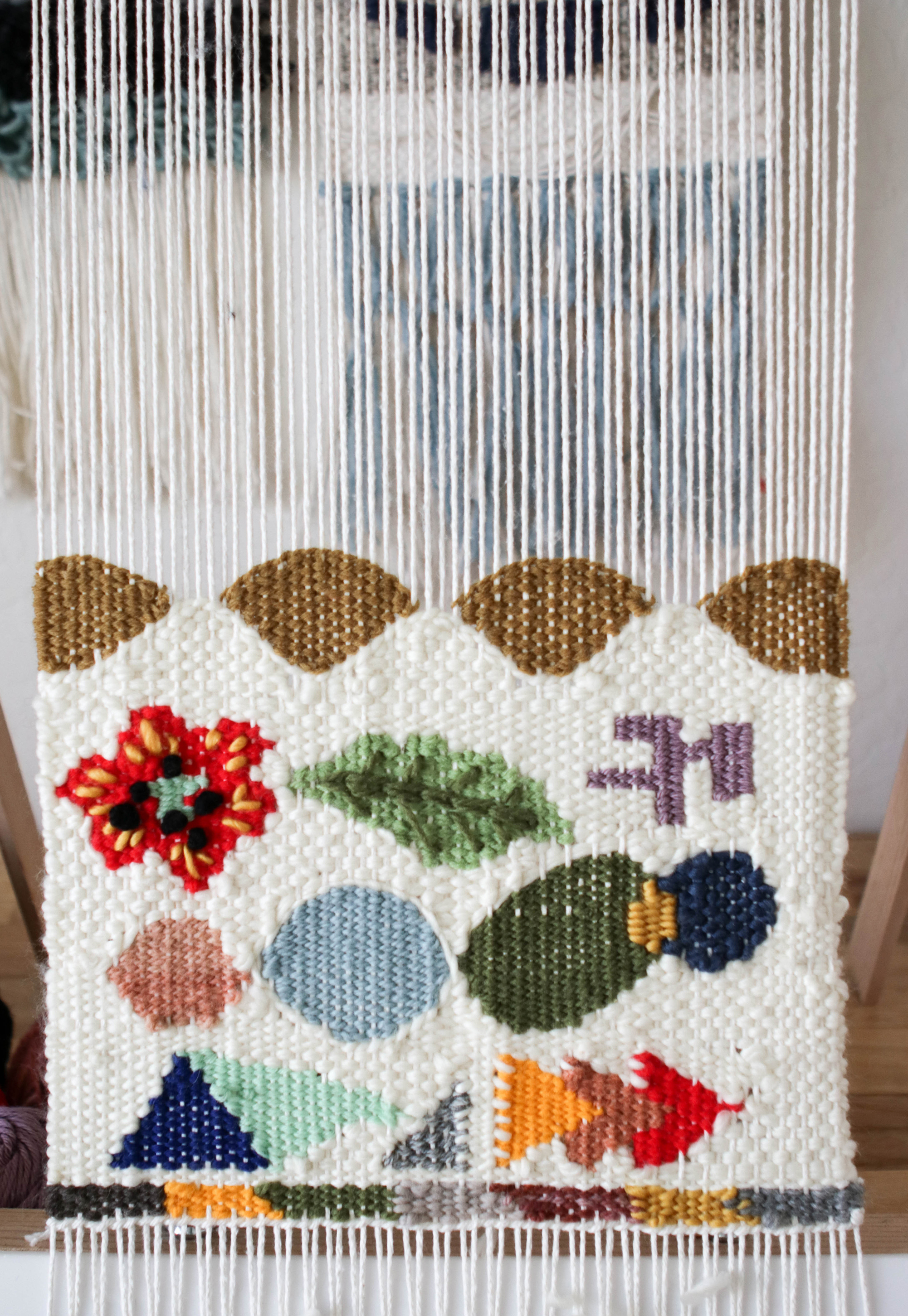 weaving shapes add shapes to wall hanging